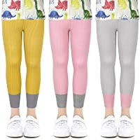 ZukoCert 3 Pack Toddler Girls Leggings Ankle Knit Tights Footless Tights Warm Stocking for Kids 1-8Y