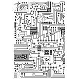 Sizzix マルチレベル テクスチャードインプレッション エンボスフォルダー回路 by Tim Holtz、665372、マルチカラー