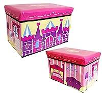 収納 スツール ボックス BOX ケース 折りたたみ キャラクター 乗り物 (プリンセス)