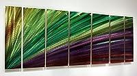 Extra Large FunカラフルなグリーンとパープルToned抽象ウォールペイント–大きな現代モダンホーム壁装飾マルチカラーSculpture–LuminescentエネルギーXL byジョンアレン