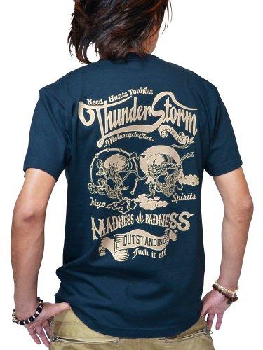 和柄 Tシャツ メンズ 半袖 プリント 5.6oz 【JUGEM】 Thunder Storm-風神雷神-モデル (L, スレート/クリーム)
