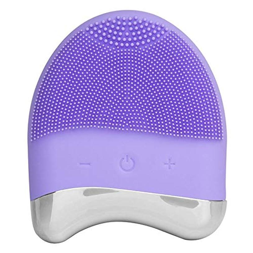 プレゼンテーションバットコーラス音波のシリコーンのスクラバー、すべての皮の反老化の顔の剥離のための表面の振動のマッサージャーの再充電可能で深いクリーニング (色 : 紫の, サイズ : Free size)