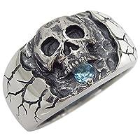 プレジュール ブルートパーズ スカル ドクロ リング シルバー 骸骨 指輪 メンズ リングサイズ15号