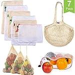 再利用可能な生鮮食品バッグ、巾着袋、7個セット、コットン メッシュバッグ、果物・野菜・全粒穀物用、おもちゃ整理、再利用可能な食料品バッグ (ページュ)