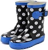 (セレブル) Celeble キッズ ジュニア レインブーツ 子供靴 男女兼用 長靴 雨靴 ドット×ブラック 19.0