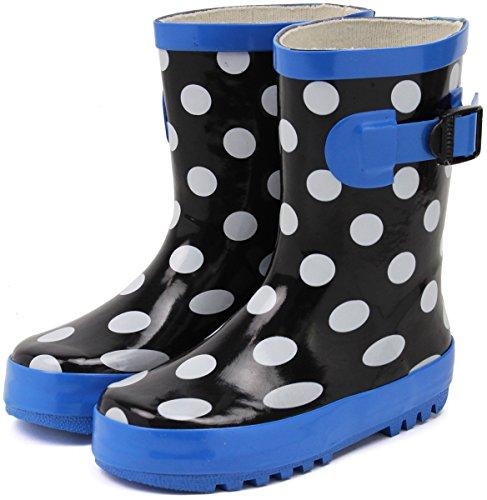 (セレブル) Celeble キッズ ジュニア レインブーツ 子供靴 男女兼用 長靴 雨靴 ドット×ブラック 23.0