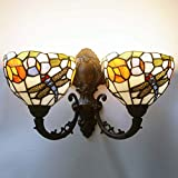 Tiffany Style Dragonfly Wall Lamp Sconces, European Pastoral Retro Stained Glass LED Wall Light Fixture, Dressing Table Bathroom Mirror Headlight, E27, No Bulbs,Doublehead