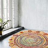 Zahra Handmade Multicolored Reversible Braided Rag Rug (4 feet Fancy Mixed Round)