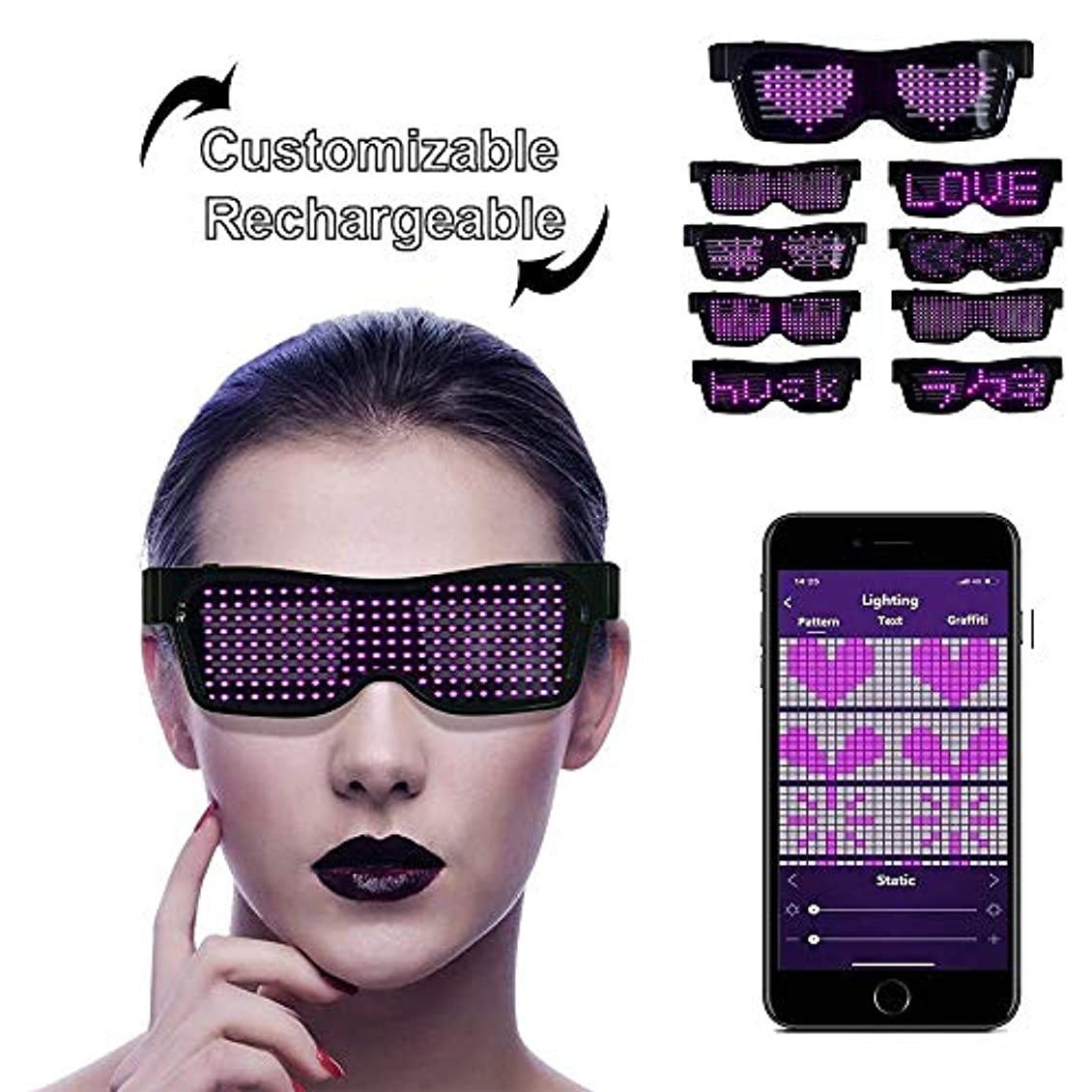 首尾一貫した半ば結婚LEDサングラス, LEDメガネ ブルートゥースLEDパーティーメガネカスタマイズ可能なLEDメガネUSB充電式9モードワイヤレス点滅LEDディスプレイ、フェスティバル用グロー眼鏡レイヴパーティー