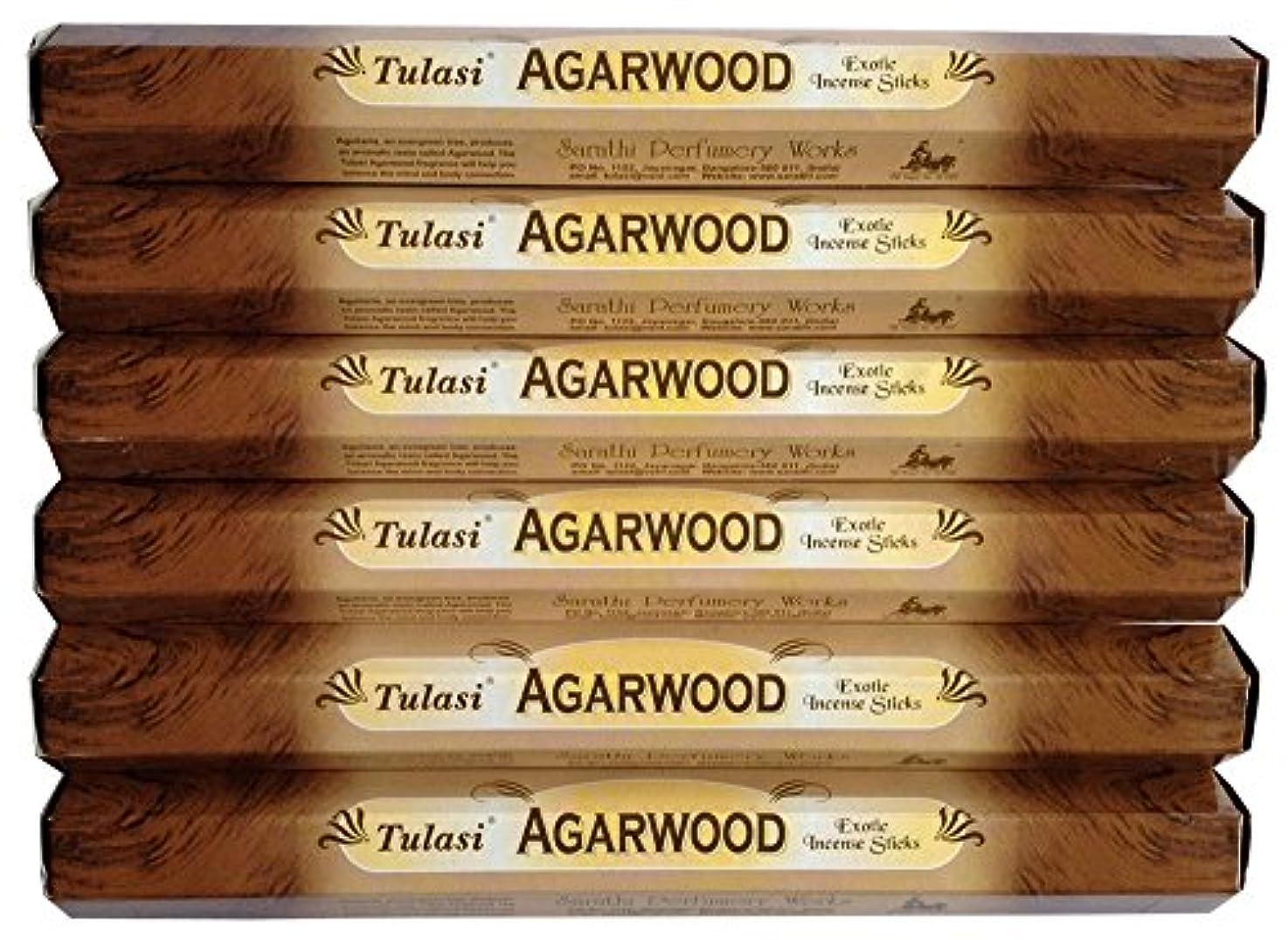 精巧な切り離す保証金トゥラシ アガーウッド 6個セット