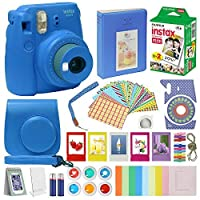 Fujifilm Instax Mini 9 Camera COBALT BLUE + Accessory kit for Fujifilm Instax Mini 9 Camera Includes Instant camera Fuji Instax Film 20 pck Instax Case with strap Instax Album + frames lenses and more