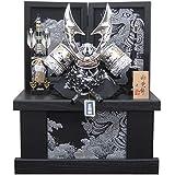 [五月人形 兜飾り]12号ハヤブサシルバー兜(正絹縅) 間口48cm金彩銀龍収納飾り