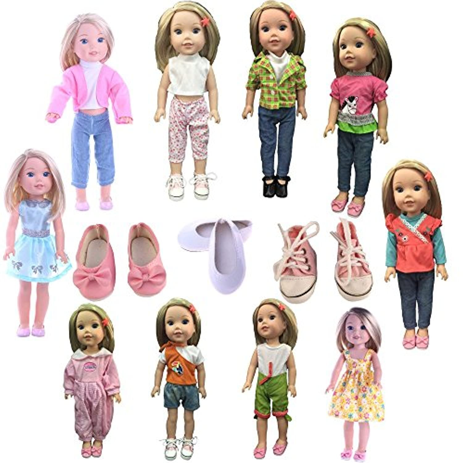 Luckdoll 5sets clothes and 3 pairs shoes, Fits 14 inch Doll such as Wellie Wisher