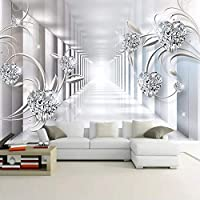 Gyqsouga カスタム壁壁画写真壁紙3D抽象スペース花柄ダイヤモンドジュエリーリビングルームテレビの背景家の装飾-280X200CM