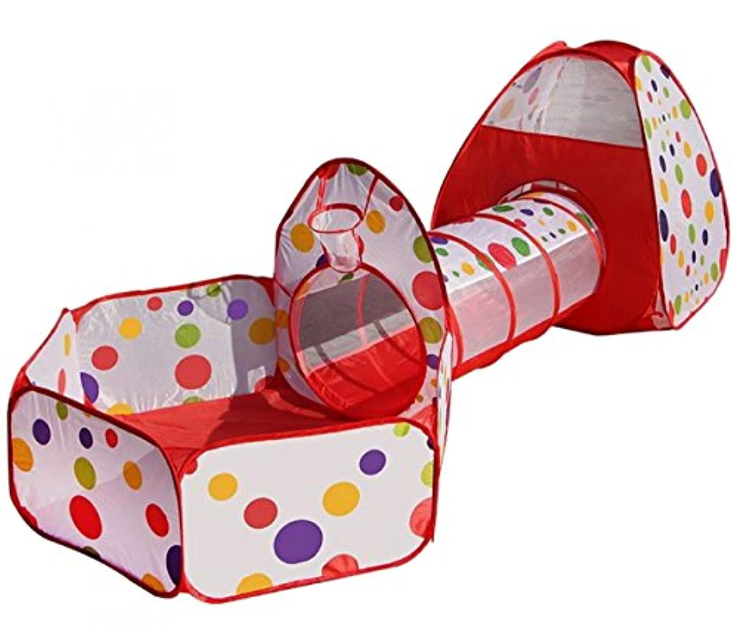 tieno Children Fun Play Tent withトンネルPop UpクロールPlayhouseボールピット3ピーステントセットfor Kids One Size レッド
