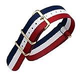 22ミリメートル青/赤/白デラックスプレミアムNATOスタイル頑丈なエキゾチックナイロンスポーツメンズ腕時計時計バンドリストバンド