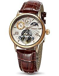 Time100 多機能 スケルトン 太陽と月と星 オートマチック  機械式 メンズ腕時計 レディース腕時計 #W60011M.03A (ローズゴールデン)
