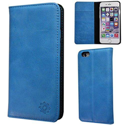 NeedNetwork iPhone6s iPhone6 4.7インチ アイフォン ケース カバー 手帳型 本革 レザー 財布型 カードポケット スタンド機能 マグネット式 (iPhone6/6s, ブルー)