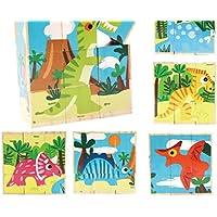 HuaQingPiJu-JP 創造的なデザイン木製の漫画のパズルアーリーラーニング番号の形の色の動物のおもちゃ子供のための素晴らしいギフト(恐竜)