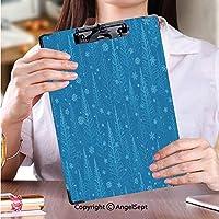 印刷者 クリップボード 用箋挟 クロス貼 A4 短辺とじ ファイルボード青い冬のクリスマスツリーの背景色 (1個)