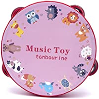 Luvay タンバリン ドラムヘッド付き 円形赤い可愛い動物の模様 単連のジングル 音楽教具 6インチ
