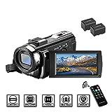 ビデオカメラ Aazomba デジタルビデオカメラ 2400万画素 HD 1080P 30FPS 16倍デジタルズーム 遠隔操作 一時停止機能 3.0液晶ディスプレイ 270度回転液晶画面 SDカード(最大32GB) 二つバッテリーあり 日本語取扱説明書