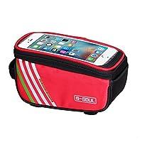 k-outdoor 自転車バッグ 防水 かばん タッチスクリーン 電話ケース フロントチューブバッグ ハンドルバー フレーム アウトドア パッケージ レッド