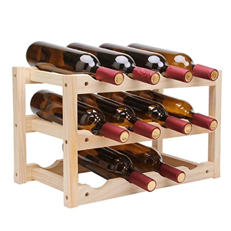 壁掛けワインラック12ボトルのワインラック/ソリッド木製ワインラック/ホームリビングルーム装飾用/レストランワインラック/煙ホテルワインボトルラック/ 18911 inches