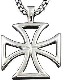 Maltese Iron Crossチタンステンレススチールペンダントネックレス+ 22