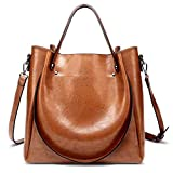 MAY DREAM Brown Premium Leather Medium Handbag Zipper Shoulder Bag with Multipockets and Two Strap Style Design