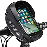 Bike Phone Front Frame Bag, Waterproof Bicycle Cellphone Mount Pack Cycling Top Tube Handlebar Bag Sensitive Touch Screen Large Storage Phone Case Holder for iPhone 7 8 Plus Up To 6.5""
