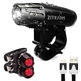 Zitrades 自転車ライト LED ヘッドライト 自転車テールライト 自転車前照灯 USB充電式 【テールライト*2個付き】