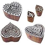 繊維 木製ブロック オリエンタル 心臓 モチーフ 印刷スタンプ (のセット 5)