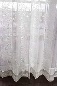 モンステラミラーレースカーテン100×108cm【2枚入り】ナチュラルホワイト