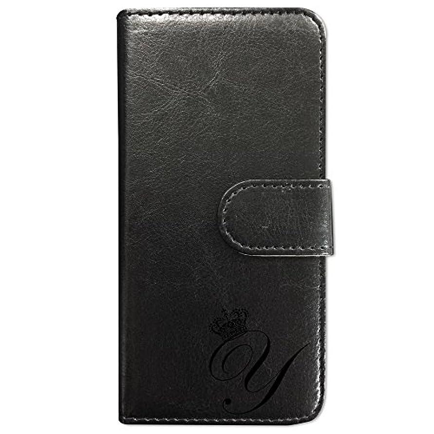 抵抗エチケットリーズsslink ZenFone3 Max 5.2インチ ZC520TL 手帳型 スマホ ケース クラウン イニシャル 「Y」 黒文字 (ブラック) アルファベット ロゴ エンブレム ダイアリータイプ 横開き カード収納 フリップ カバー スマートフォン