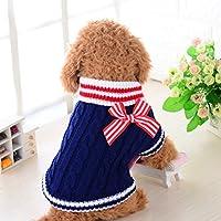AMAA ペット服 冬 犬用セーター  蝶結び 赤 ブルー (S, ブルー)