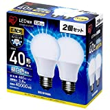 アイリスオーヤマ LED電球 口金直径26mm 40W形相当 昼白色 広配光タイプ 2個セット 密閉器具対応 LDA4N-G-4T42P