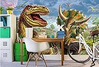 Bzbhart 3D壁紙シルク壁画ティラノサウルス・レックスジュラシックフォレスト絵画 壁壁画壁紙用壁-200cmx140cm