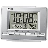 セイコー クロック 目覚まし時計 電波 デジタル カレンダー 温度 表示 PYXIS ピクシス 銀色 メタリック NR535W SEIKO