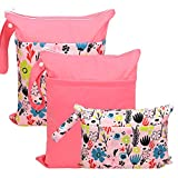 Hi Sprout Grab and Go Wet Dry Cloth Diaper Bags -Waterproof Washable Reusable Diaper Organizer (Simple Bag, Dreaming Flower)