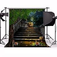 aofoto 6x 6ftハロウィンBackdrop Scary Grimace Pumpkin写真背景池側階段子Kid Girl Boy Artistic Portrait GloomyアウトドアPhoto Shoot Studio Propsビデオドロップ壁紙ドレープ