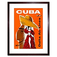 Vintage Ad Travel Cuba. Delta Airlines Travel Framed Wall Art Print
