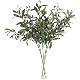 SODIAL 5 Pcs 28 inch Green Olive Artificial Plants Branches Fruits Flowers Branch Leaves for Home Office Crafts Decoration Gr
