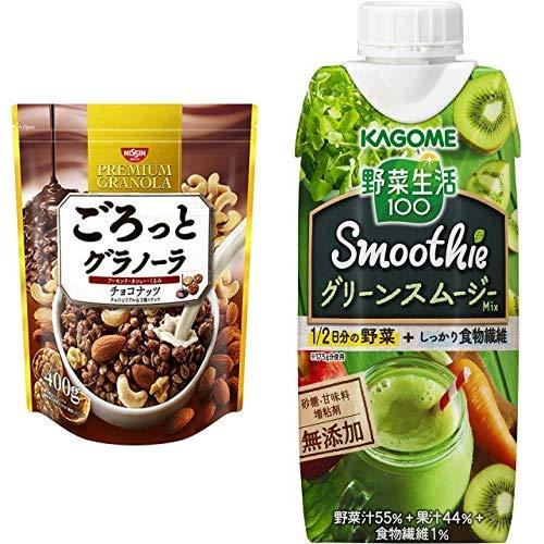 【セット買い】ごろっとグラノーラチョコナッツ400g 400gX6袋 + カゴメ 野菜生活100 Smoothie(スムージー) グリーンスムージーMix 330ml×12本