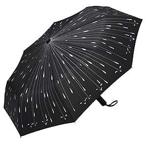PLEMO 折り畳み傘 自動開閉折りたたみ傘 頑丈な8本骨 耐強風 梅雨対策 軽量 撥水性 収納ケース付 おしゃれ (ブラック)