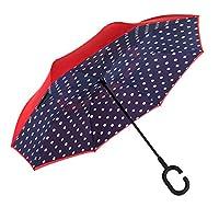 CarBoys 逆転傘 逆さ傘 逆折り式傘 自立傘 長傘 手離れC型手元 耐風 撥水加工 晴雨兼用 ビジネス用 車用 UVカット 遮光遮熱 傘袋/ケース付き(紺色・丸々)