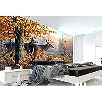 Lcymt 3D立体の壁紙は居間のための3D壁画の壁紙エルクの森3Dの壁紙の壁の壁紙をカスタマイズします-120X100Cm