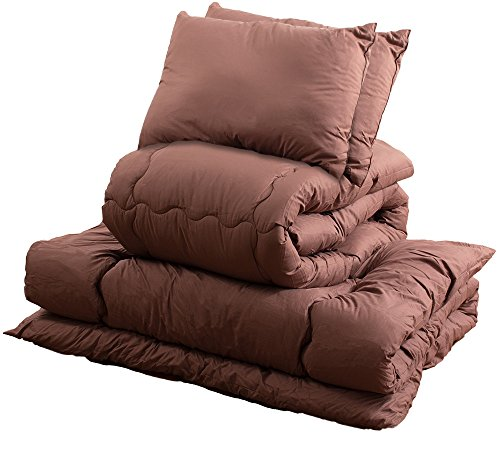 【おうちで洗える布団】 組布団 5点セット (掛布団) (敷布団) (枕2) (収納袋) なめらかで肌触りが良い (ピーチスキン加工) アレルギー対策 (ほこりの出にくいワタを使用) D ダブル (ブラウン)