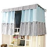間仕切りカーテン 目隠し 2段ベッド用 遮光カーテン 天蓋テント 学生寝室ベッド 上段下段用 (長2m高1.2m, ブルー)