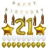 Vergeania 小道具舞台背景21歳の誕生日セット誕生日プルフラグアルミフィルムバルーン紙フリンジラテックスバルーン誕生日装飾パーティーの装飾 (サイズ : ワンサイズ)